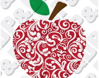 Teacher Apple  svg, eps, pdf, dxf, jpg, png, .studio3 - Digital Cut file for Cricut or Silhouette