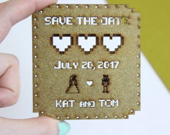 Geek wedding save the date, retro gamers save the date, 8bit wedding, 8bit save the date, gamers wedding, SET OF 10
