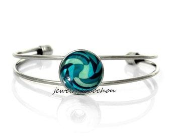 Bracelet geometric pattern blue silver metal glass cabochon