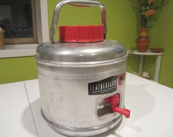 Aluminum Featherflite drink jug, Poloron 1950s drink cooler, silver and red 1 gallon drink cooler