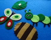 Hand Sewn Hungry Caterpillar Felt Story Set for Kids, Caterpillar Life Cycle, Felt Board Stories Montessori Felt Gift for Toddler Busy Board