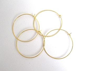 Set of 4 Golden brass hoops