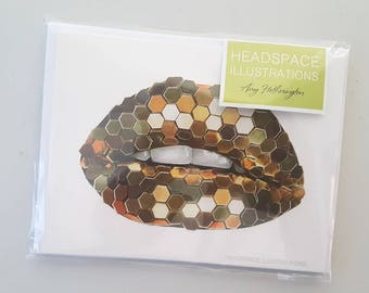 Gold Lippy Lips Kiss A6 Blank Notecards 5Pk Greeting Sympathy Thank you Anniversary Gift Colored Pencil Art Cards by Headspace Illustrations