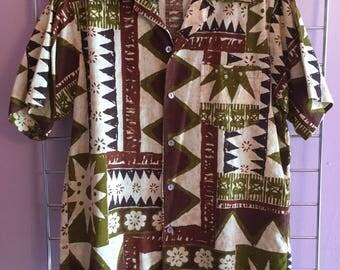1960s Earth Tone Hawaiian Shirt