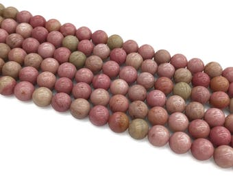 1Full Strand Pink Rhodonite Round Beads, 8mm 10mm Rhodonite Gemstone For Jewelry Making