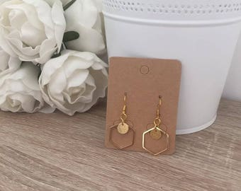 Earring Mewa Golden geometric pendant