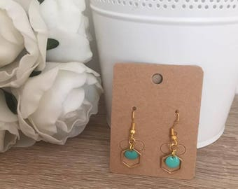 Earrings Pilla Golden geometric turquoise pendant
