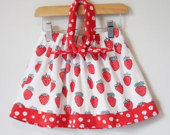 Strawberry and Spot Skirt Set, Girls Skirt, strawberry skirt, kids skirt, baby skirt, fruit print, fruit skirt, red spot, head tie