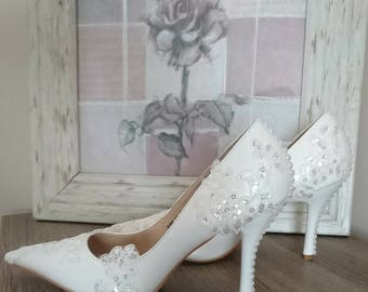 White sequins, lace & pearls