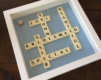 Bridesmaid Scrabble Frame - A Unique and Personalised Gift for your special Bridesmaids and Maid of Honour