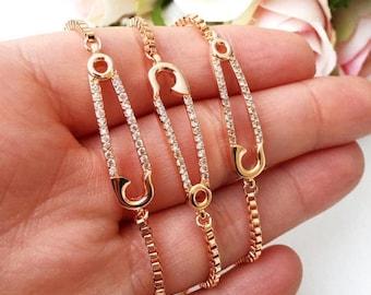 PROMO Gold safety pin bracelet, adjustable bracelet safety pin, rose gold safety pin jewelry, safety pin zirconia bracelet, zirconia jewelry