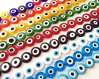 PROMO 12mm flat round evil beads- Turkish evil eye- strand for red, yellow, green, blue, white bead- evil eye set of 30 beads - beads for br
