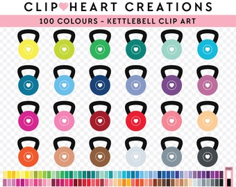 100 kettlebell Clipart, Commercial use, PNG,  Digital clip art, Digital images, Rainbow digital scrapbooking clip art, kettlebell clipart