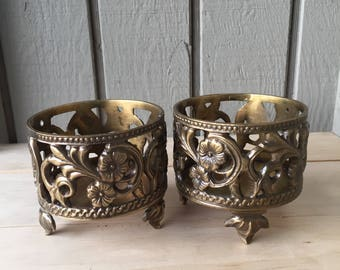 Vintage Pair Brass Scrollwork Floral Footed Votive Candle Holders