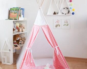 Pink vigvam with tiny hearts (wigwam, tipi, teepee, play tent)