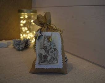 Decorative Christmas bag shabby - backpack fabric à poser - scented pouch - table - for guest present - Christmas gift