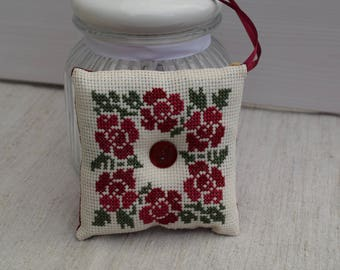 Embroidered door pillow - quilted needle for seamstress - cross stitch wreath with - pin cushion.