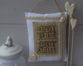 Door cushion fabric and alphabet - decorative pillow - cushion shabby - hanging vintage lace and roses fabric - decoration
