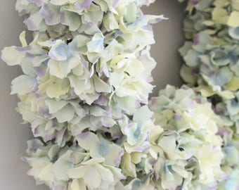 Multi-Color Pastel Hydrangea Wreath | Summer Wreath | Summer Wreaths for front door | Front Door Wreaths | Faux Wreaths | Silk Wreaths