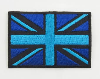 Blue United Kingdom Flag Iron-on / Sew-on Embroidered Cloth Patch Badge Appliqué Great Britain British Union Jack UK Seller 7cm x 4.8cm