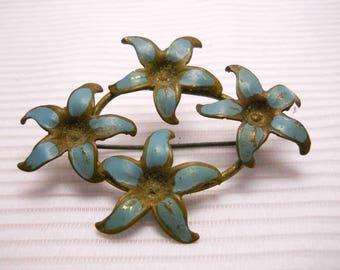 Blue Flower Circlet Vintage Brooch Pin