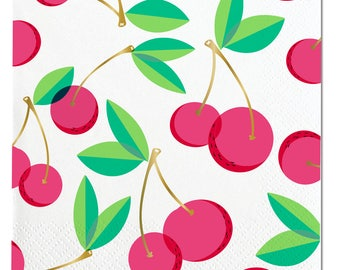 Cherry Napkins,Cherry Party Napkins, Paper Party Napkins, Cherry Party,Fruit Party,Twotti Frutti Party,Fruit Birthday Party,Cherries, Cherry