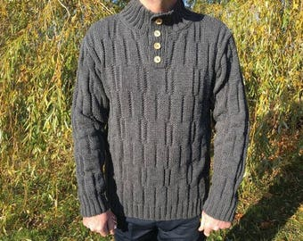 Gray wool vest for men - size L