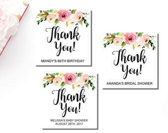 Floral thank you tag etsy personalized favor tags printable floral boho favor tags thank you tags wedding negle Choice Image