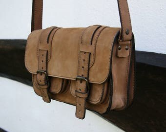 Hand made Leather Messenger Bag / Cross body Bag / Leather Shoulder Bag / Brown Leather Satchel Bag / Mens Messeger