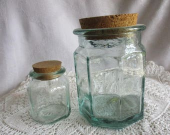 Two Vintage Recycled Green Glass Kitchen Jars  Made in Spain
