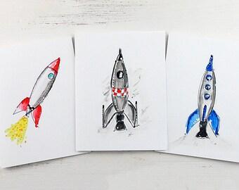 Rocketship Note Card Set