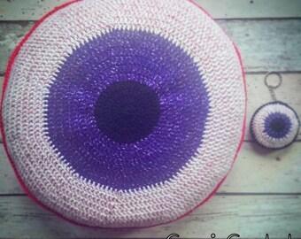Crochet cushion / crochet / cushion / round cushion / eyeball / horror / gory / gothic / creepy / geeky / purple / zombie / round