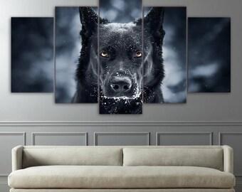 German shepherd print poster canvas in 5 pieces