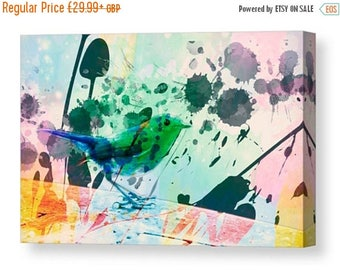 SALE 15% Canvas print of water colour robin bird digital Devon art canvas nature life photography color giclee nature natural life wildlife
