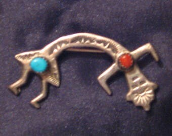 Native American Yeibichai Kachina Sterling Silver Coral & Turquoise Pin