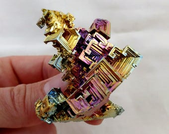 Rainbow Bismuth Crystal 80g Lab Grown Jewelry Display Specimen Educational Metaphysical Metal Healing Stone