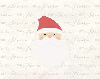 Santa face svg, santa svg, santa claus svg, santa head svg, santa hat svg, christmas svg santa, cute santa svg, santa dxf, svg santa