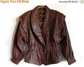 SALE 15% Vintage 80s Genuine Leather Jacket Bomber Jacket Brown Leather Jacket Elastic Waist Padded Shoulders Vintage Women's Leather Clothi