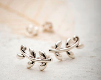 Olive branch Ear Studs, Sterling Silver studs, tiny studs, olove branch earrings