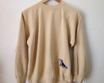 Vintage 50/50 Embroidered Quail Theme Beige Sweatshirt - Put a Bird on it! - Sz Large