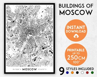 Moscow map print, Moscow print, Moscow city map, Russia map, Russia print, Moscow poster, Moscow wall art, Map of Moscow, Moscow art print