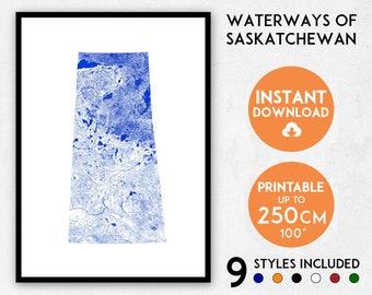 Saskatchewan map print, Saskatchewan print, Saskatchewan poster, Canada print, Saskatchewan wall art, Map of Saskatchewan, Canada map print