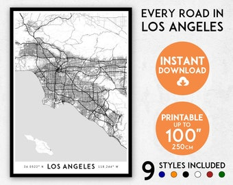 Los Angeles map print, LA map art, Los Angeles print, LA city map, California map, Los Angeles art, Los Angeles poster, Los Angeles wall art