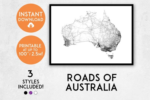 Roads of Australia map print Printable Australia map art