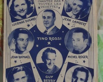 French vintage 1935 Sheet Music Song - pretty wind song by Tino Rossi and sung by all stars Guy Berry