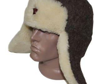 Soviet white fur hat Ushanka Red Army RKKA