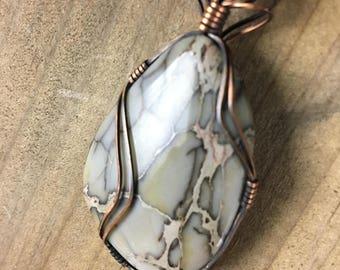 Impression Jasper Wirewrapped Pendant