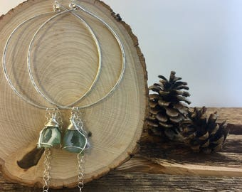 Geode Hammered Wire Hoop Earrings / Sterling Silver / Dangle Raw Cyrstal Gemstone Wire Wrap Druzy Hoops
