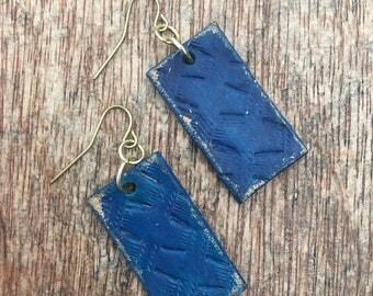Rustic Blue Basketweave Earrings