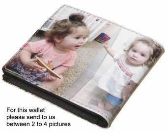 MEDIUM custom wallet for men with pictures from you - FREE SHIPPING - gift gifts for dad boyfriend man custom images from me personalized
